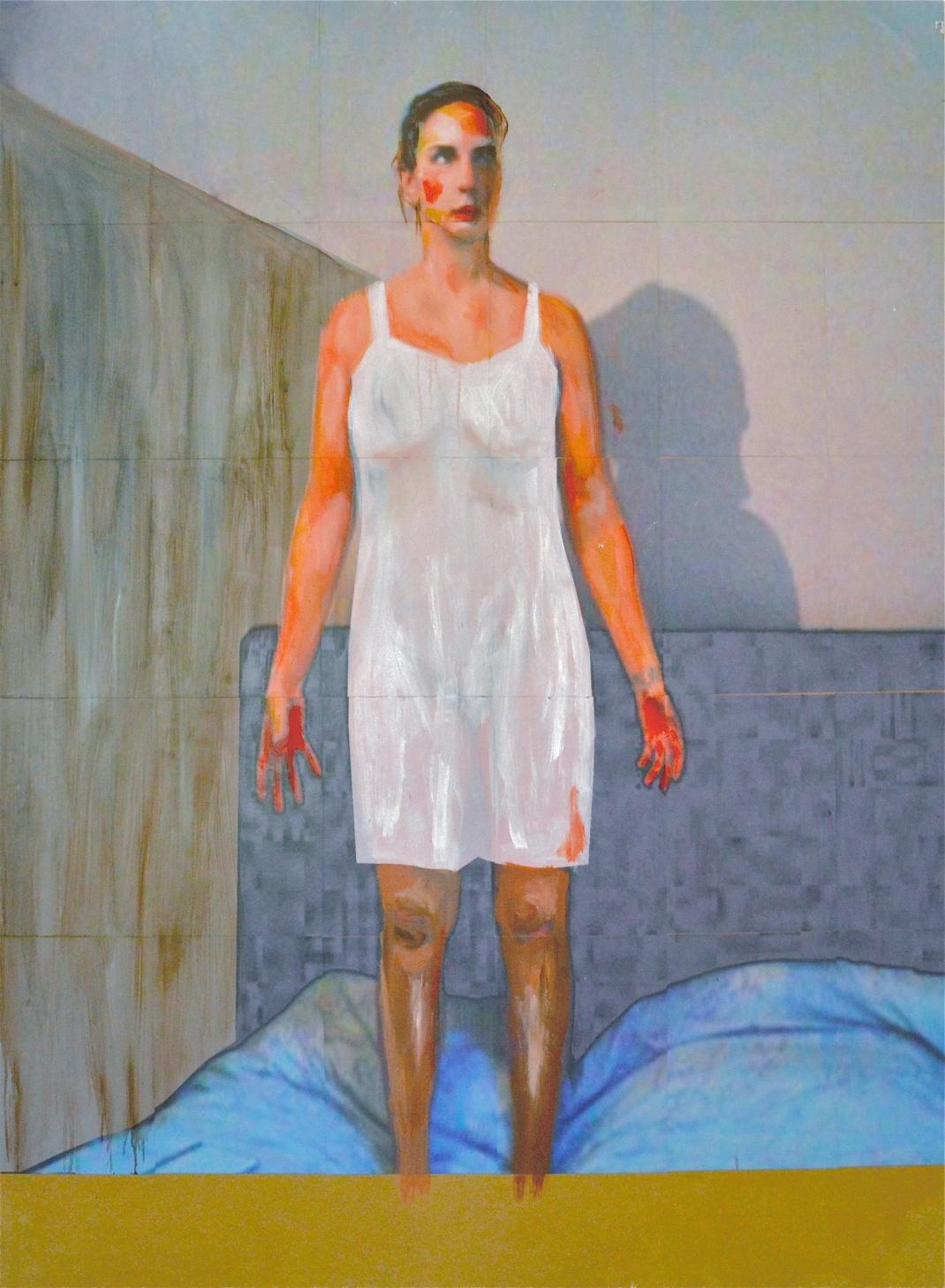 Autoportrait en peintre 2013 165X122 cm Huile et impression sur medium