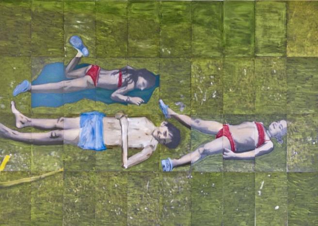Dizzy, 2014 120 X 210 cm Huile et impression sur papier