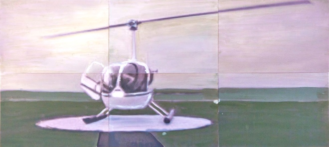 Paysage en 6 2015 42 x 90 cm Huile et impression sur papier
