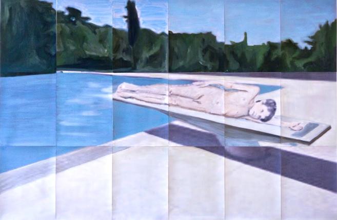 Lying 2014 90 x 126 cm Huile et impression sur papier