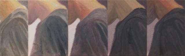 Série sans titre 2014 Huile et impression sur papier marouflé sur toile, 4,5 feuilles A4