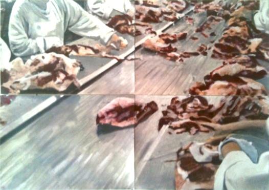 A l'usine, 2015 Huile et impression sur papier Dimensions variables, 4 feuilles A4