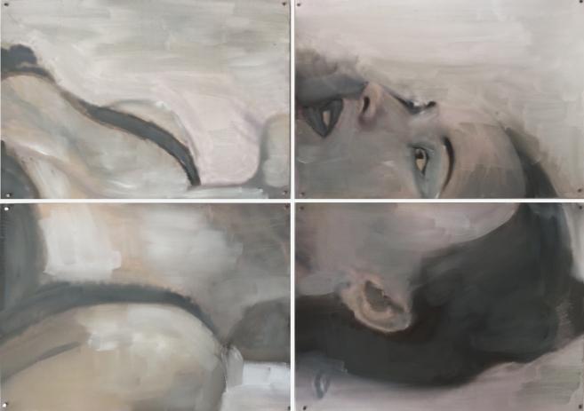 Crime Scene 2 2015 Huile et impression sur papier 43x61